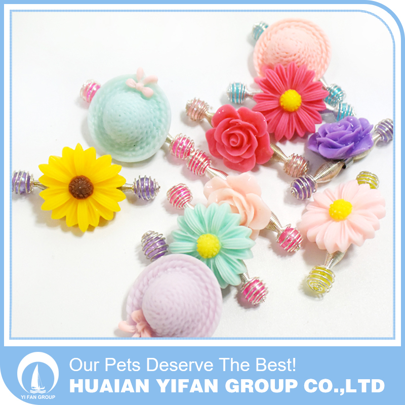 Pet spring plastic hair pin with sunflower,rose and cap shape