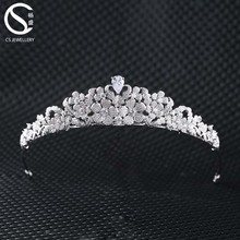 Shinny CZ Rhinestone Bridal Wedding Tiara Crown For Girls