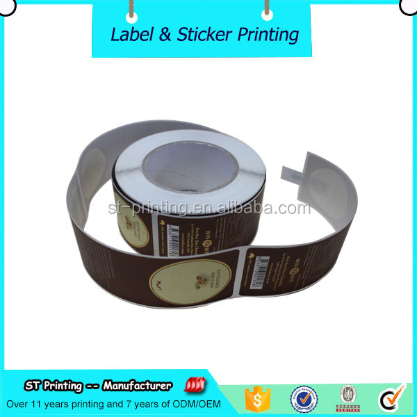 wholesale gift package usage chocolate label matte gold foil vinyl sticker