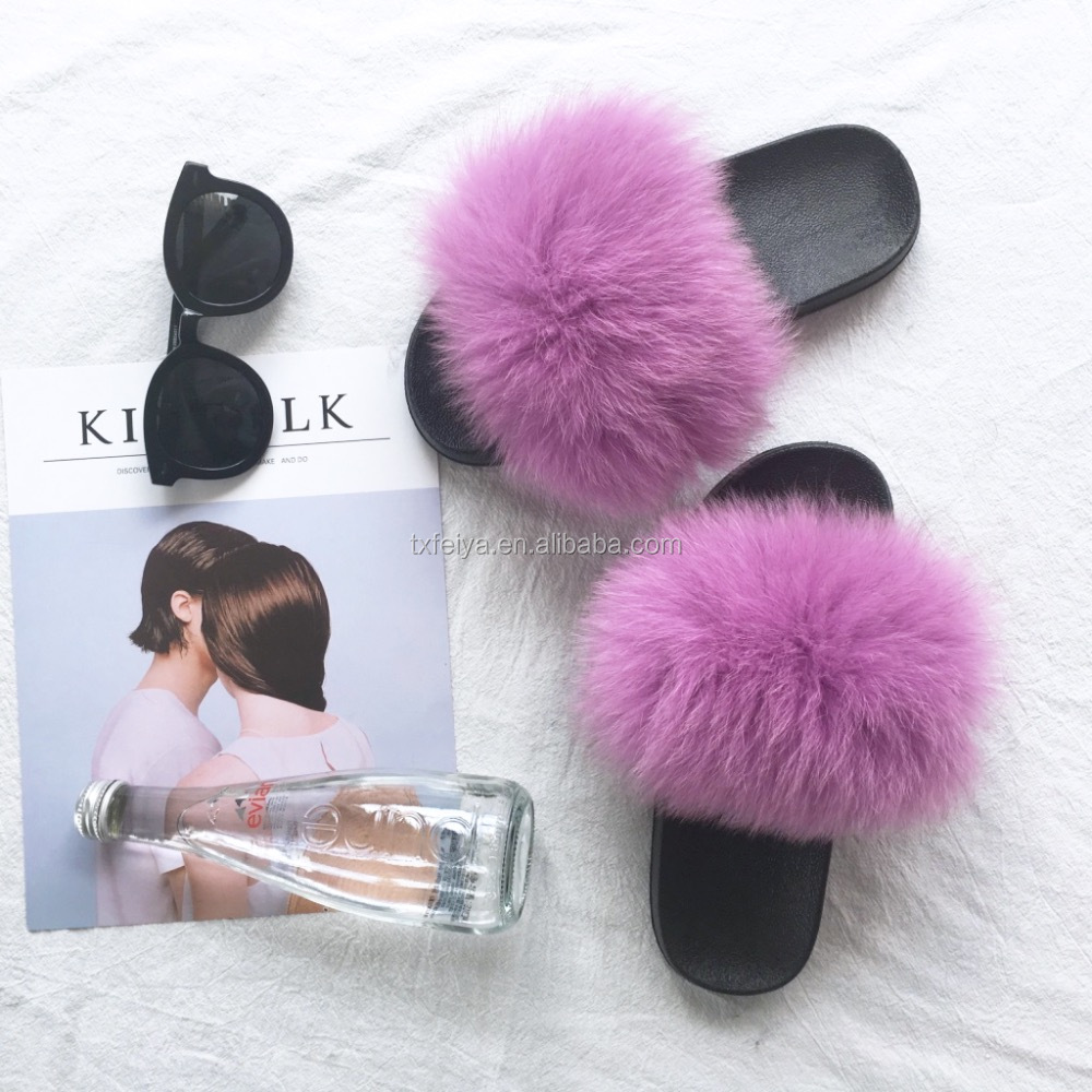 Man PVC Sandals Custom Slides for Women Fuzzy Fur Slippers