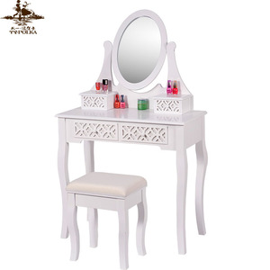 New design wooden dressing table with mirror and stool