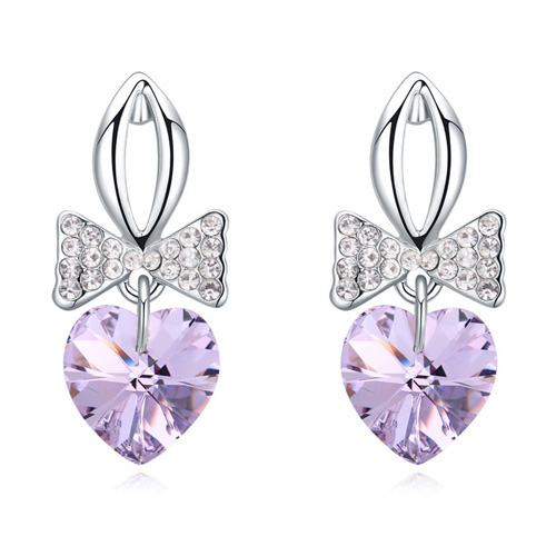 Manufacturer Made with Crystal from Swarovski Heart Shaped Pendant Fancy Earrings