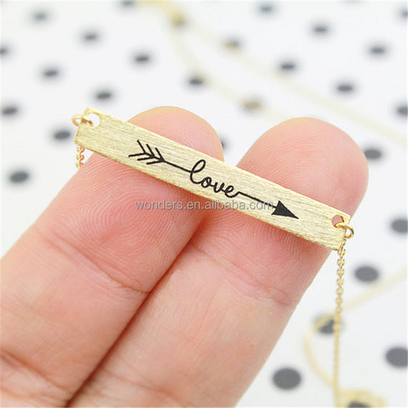 4mm Love Arrow Engrave Word Bar Wish Necklace Rose gold plated stainless steel necklace chain jewelry fashion