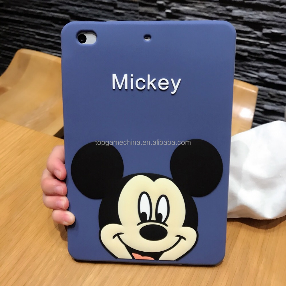 3D Silicone Back Cover For iPad mini 3 2 1 , Mickey Soft Silicone Cases For iPad 2 3 4 5 Air