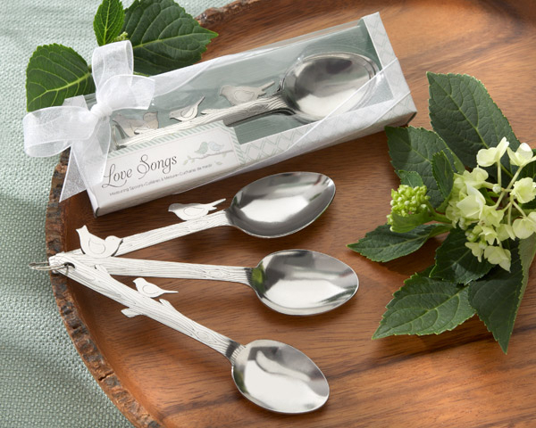 "wedding favor <strong>gift</strong> and giveaways for guest--""Love song"" stainless steel love birds spoon return goods party souvenir 100set/lot"