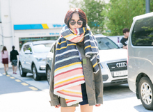 2017 multi-color stripes woven acrylic ladies winter scarf shawl