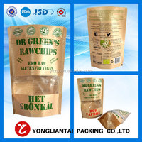 customized 16oz natural kraft paper stand up pouch with window and zipper doypack packaging bag for chips