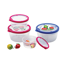 3 pieces large plastic round food grade container with lids