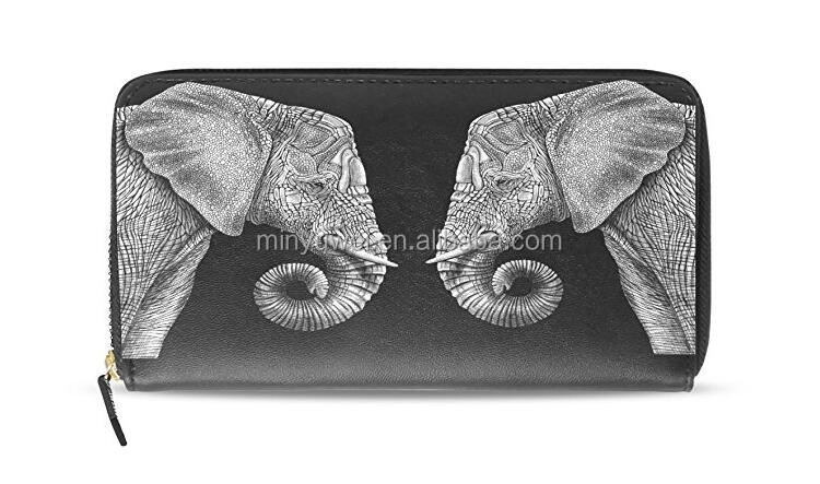 High quality PU Women's Elephant Clutch Leather Long Wallet Purse zipper around