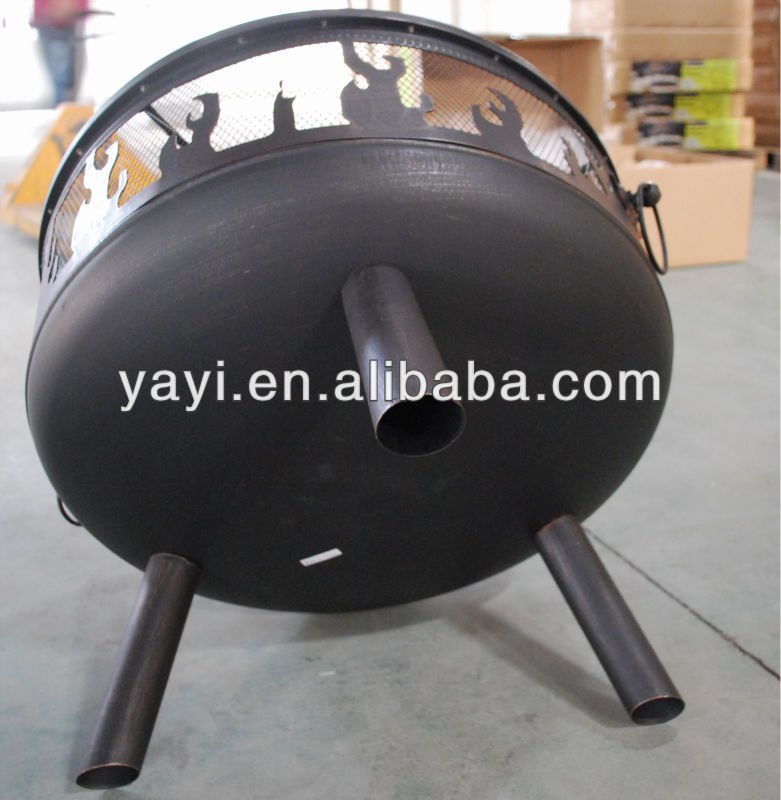 Outdoor cutout firepit with cooking grid