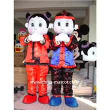 new chinese golden boy and jade girl adult size plush costume