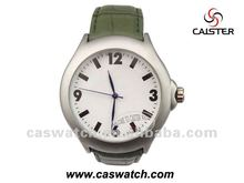 Army green leather sand blast men gift watch, cheap