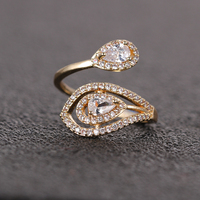 The latest fashion dubai gold engagement rings gold design for girl Tears zircon ring