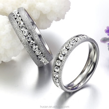 AliExpress Hot White K stainless steel single row diamond pearl sand lovers ring fine fashion Korean Ring