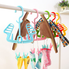Plastic Shoes Hanger Organizer with Clips, Windproof Laundry Shoes Drying Rack