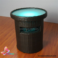 2015 high quality hifi music rechargeable waterproof wireless led light artificial round rattan table with bluetooth speaker