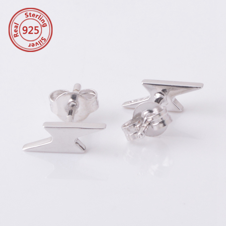 Tiny Lightning Earrings Sterling Silver lightning bolt cartilage earring stud