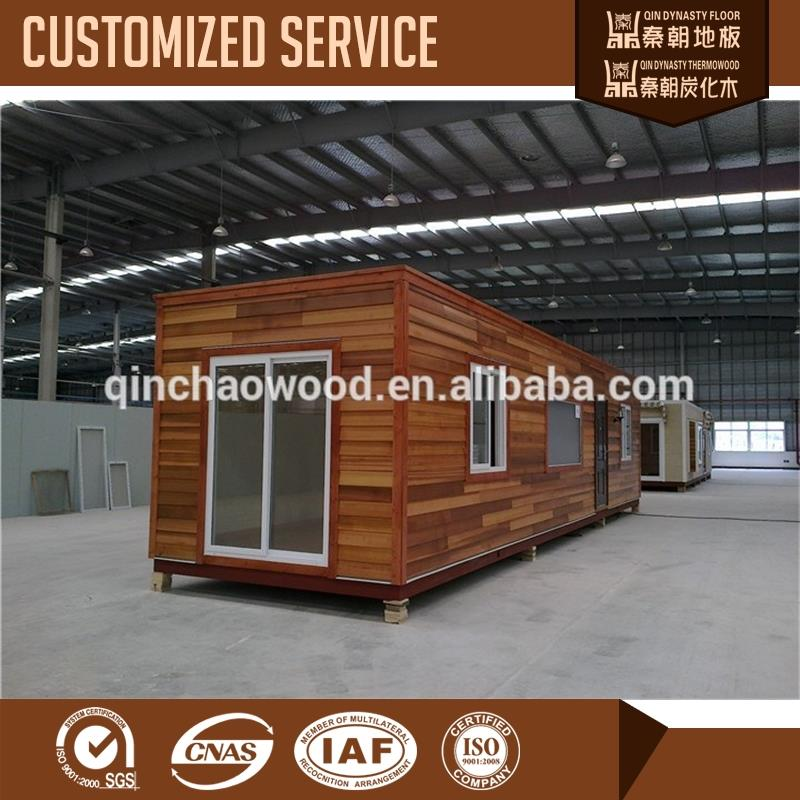 Thermo wood cladding container homes