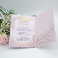Light purple pocket wedding invitations card envelopes Laser cut