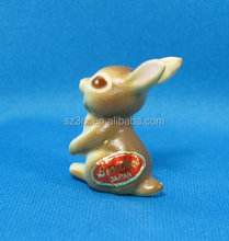 custom made Bunny Rabbit Miniature figurines , OEM cute small animal figure,miniature plastic figurines