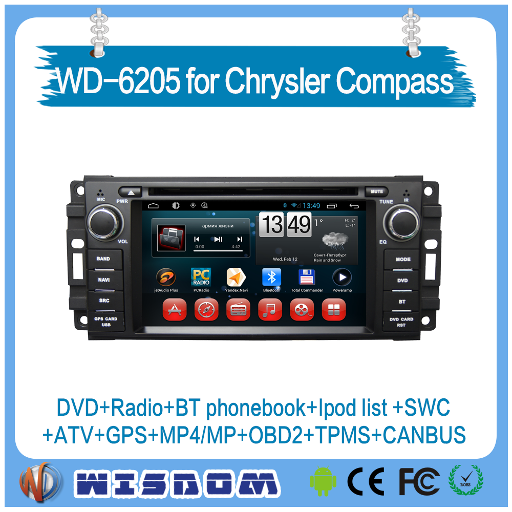 for Chrysler Compass dvd player with gps android system tv/radio tuner auto audio support bluetooth wifi builtin free maps mp3
