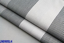 CVC fabric in black/white cotton/polyester stripe shirting fabric