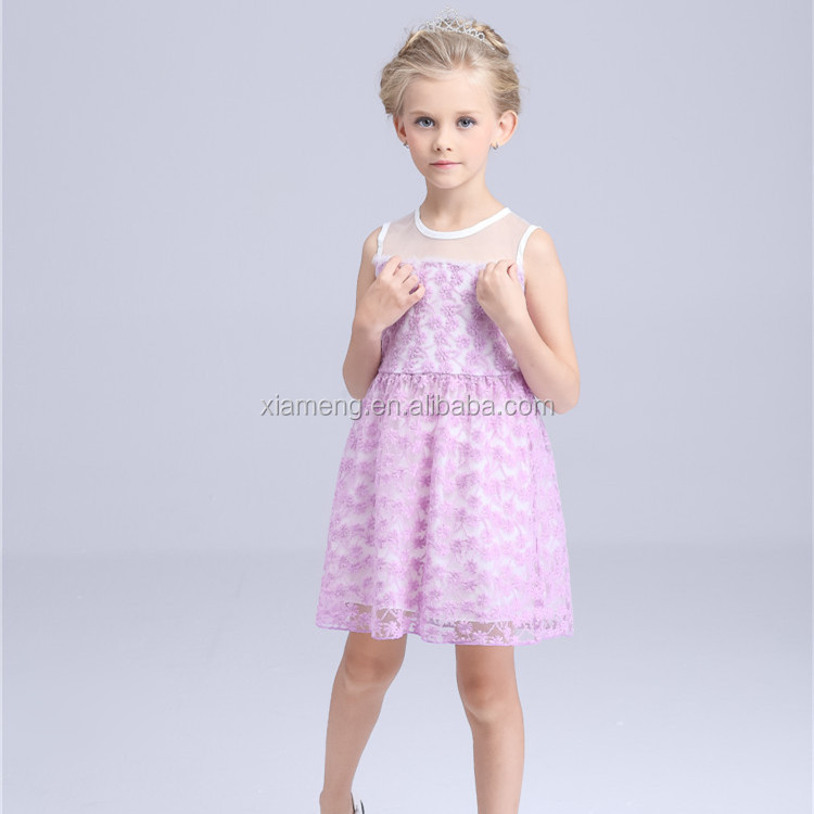 2016 Alibaba hot sale sleeveless new style breathable fancy kids collection dress