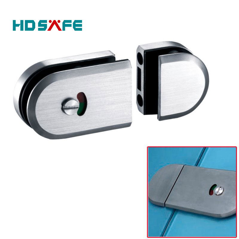 modern style stainless steel frameless mini indicate toilet glass door lock