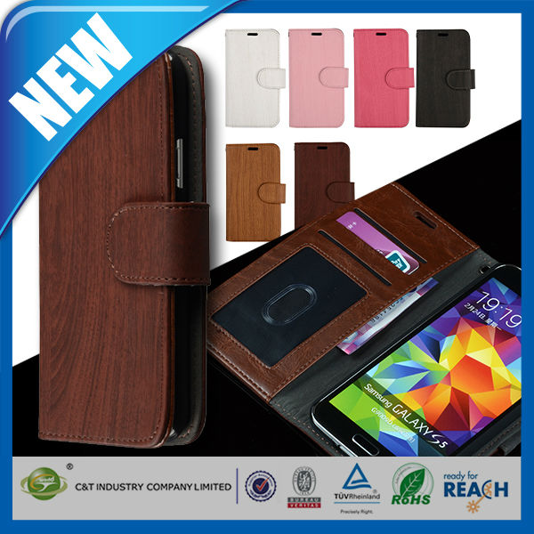 C&T Leather Wallet Book Flip Stand mobile phone case for samsung galaxy s5