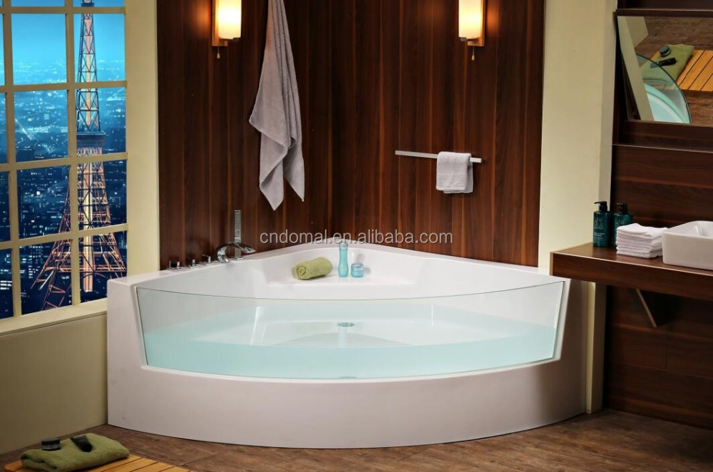 The latest design DM-1201 clear acrylic freestand corner bath tub