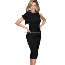 2016 Fashion women v neck slim stretchy bodycon one piece cocktail party dress