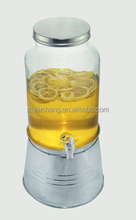 5L clear cylinder glass juice water beer dispenser with faucet and keg