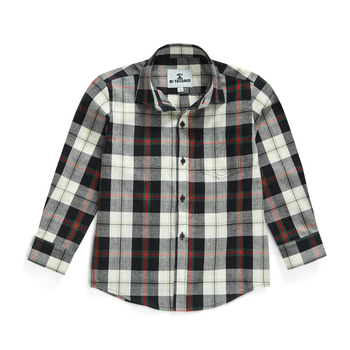 MJ TAILORED KID BOY LONG SLEEVE CASUAL BLACK PLAID FLANNEL SHIRT
