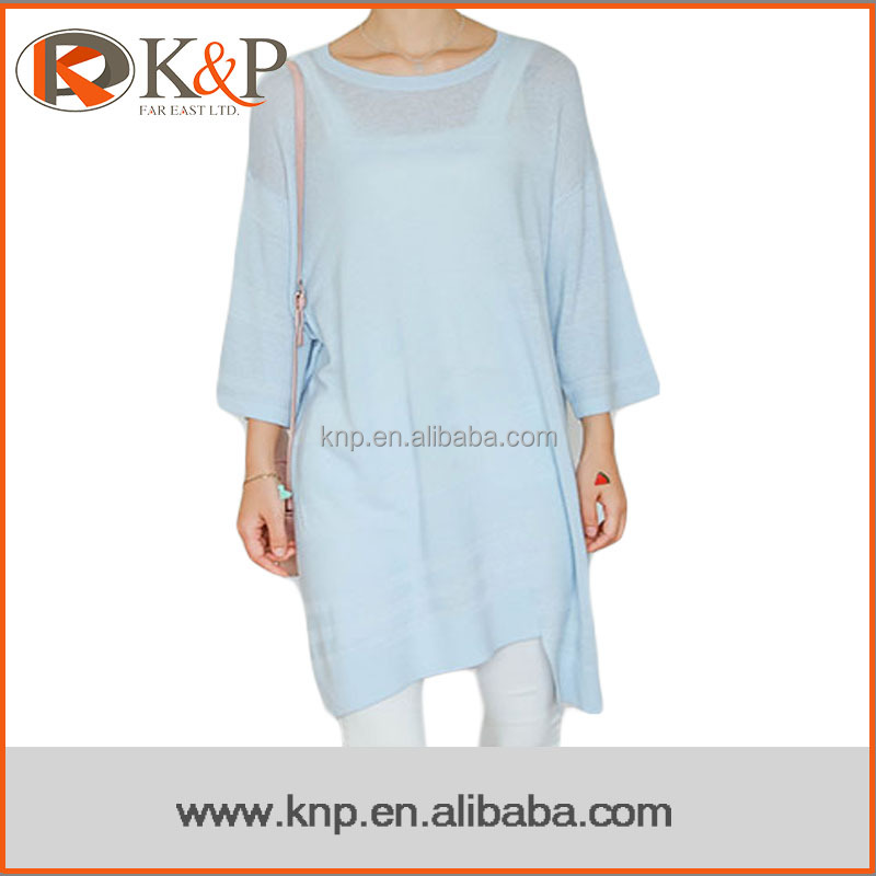 Ladies light blue half sleeve long one piece pullover sweater dress