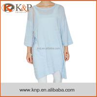 Ladies light blue half sleeve long one piece pullover sweater dress