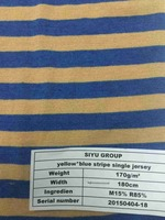 yellow and blue stripe single jersey fabric