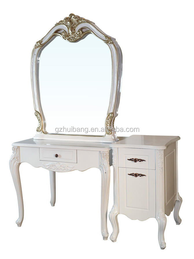 White hairdressing hair salon mirror table mirror for Beauty parlour dressing table images