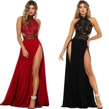2018 Women See Through lace high cut sexy backless bifurcated party dress
