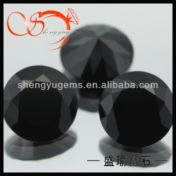 7mm round black moldavite jewelry glass stone(GLRD0001-7mmblack)