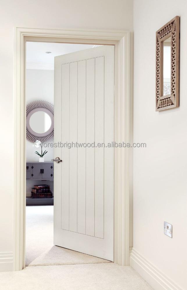Forest bright modern v groove design white flush door for for Door design with groove