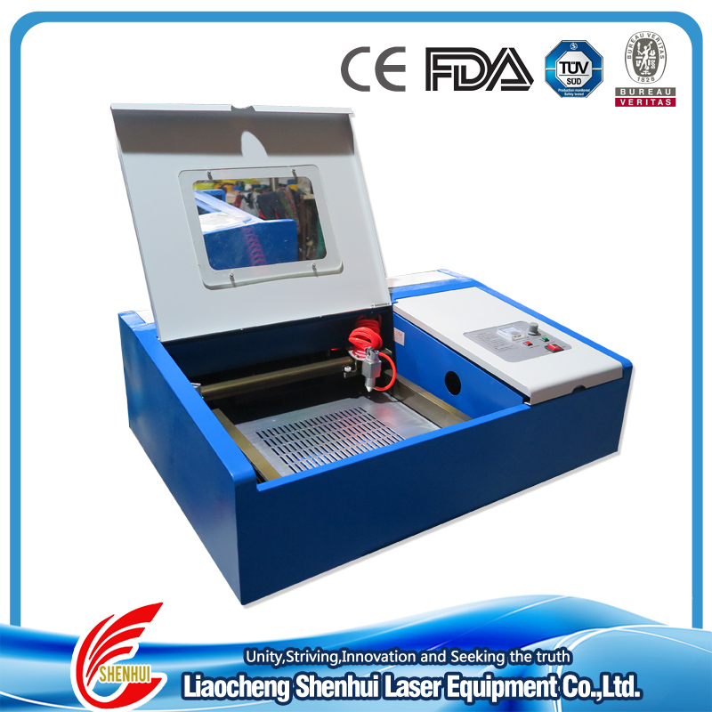 working area: 300x200mm SH-K40 mini laser stamp engraving machine/ cutting maching