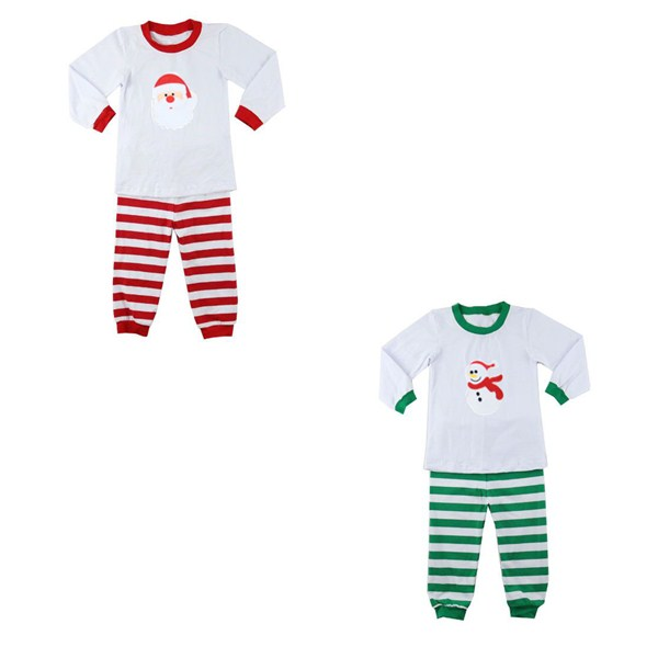 2017 wholesale toddler boy girl cotton christmas pajamas boutique baby clothes red green kids pajamas