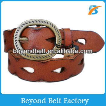 Beyond 35mm Wide Women's Casual Brown Vintage Real Leather Perforated Decor Jeans Belt