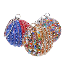 ball shape beautiful diamond-studded banquet ladies handbag trendy party clutch purse
