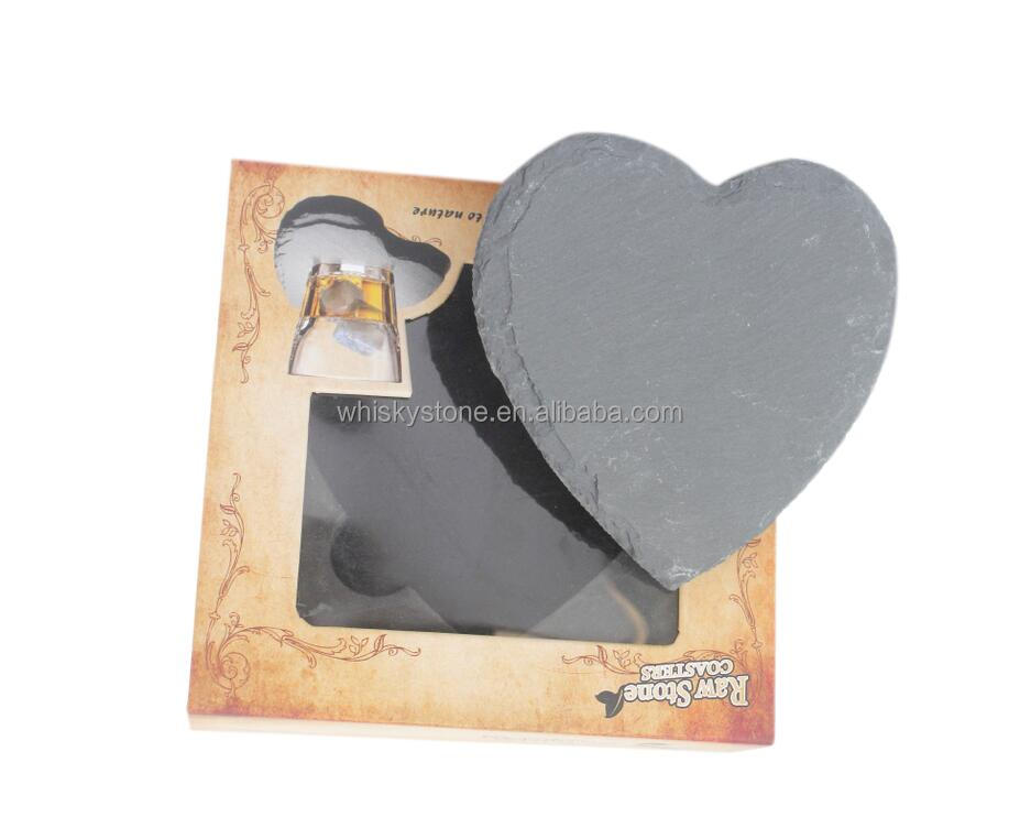 """Love"" heart shape natural Slate Stone Coaster"