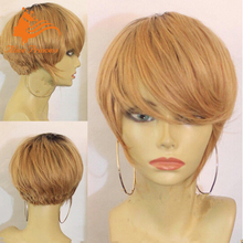 New Blonde Bob Style Lady's Short Hair Wig Straight 1BT27 Human Hair Full Lace Wig Virgin European Hair Wig With Bangs