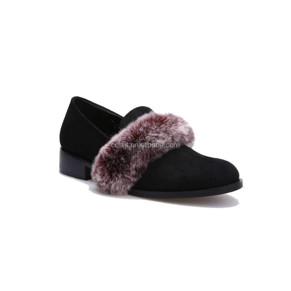 High Quality Suede Leather Flat Casual Shoes With Fur For Women