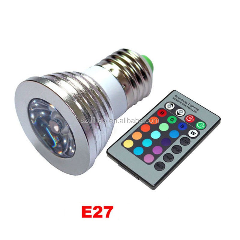 DIHAO E27 3W RGB Multicolor LED 16 Color Changing Lamp Light Bulb + IR Remote Control