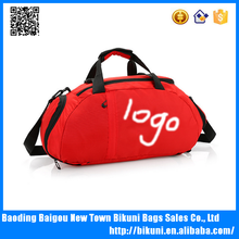Manufacturer wholesale custom 3 ways oxford handle sport bag gym bag sling shoulder travel bag with separate shoes compartment
