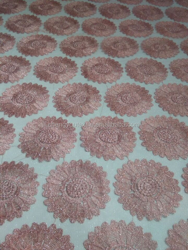 Sunflower 100% Polyester Jacquard Lace Mesh Fabric for Women's Clothes